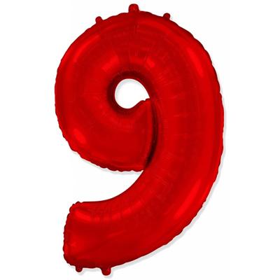 Фольгированная цифра «9» красная шарик
