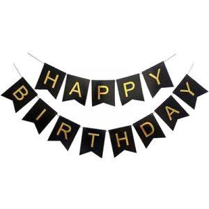 """Гирлянда """"Happy Birthday"""" Черная глиттер"""