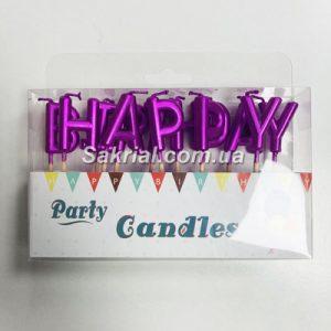 Свечи для торта розовые буквы «Happy Birthday» купить в Киеве