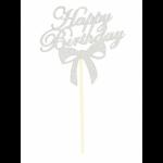 Топер Happy Birthday серебряный купить в Киеве