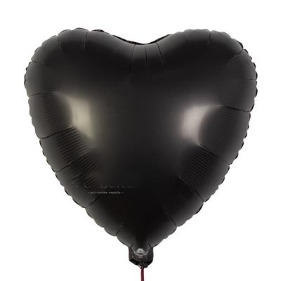 Сердце шарик сатин черное