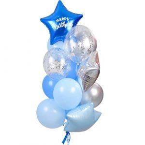 фонтан из шаров в голубых цветах