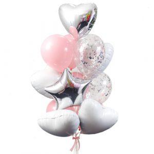 Фонтан шариков с белыми сердцами