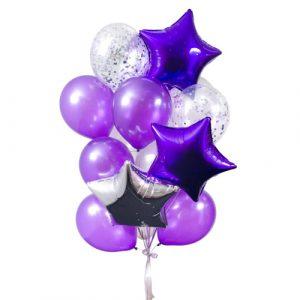 Фонтан с фиолетовыми шарами