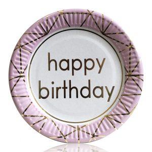 Тарелки бумажные Happy Birthday розовые 10 шт/уп