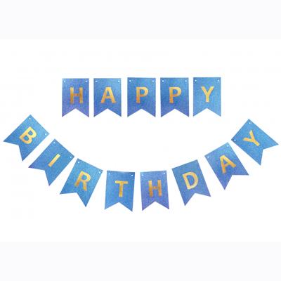 "Гирлянда ""Happy Birthday"" Синяя глиттер"