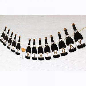 Гирлянда «Happy Birthday» Черные Бутылки
