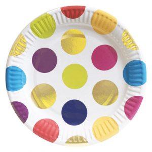 Тарелки бумажные цветной горошек 10 шт/уп