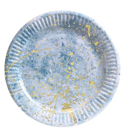 Тарелки бумажные «Голубые с золотом» 18 см 10шт/уп