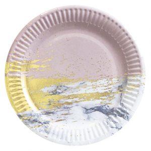 Тарелки бумажные мрамор розовый с золотом 10 шт/уп