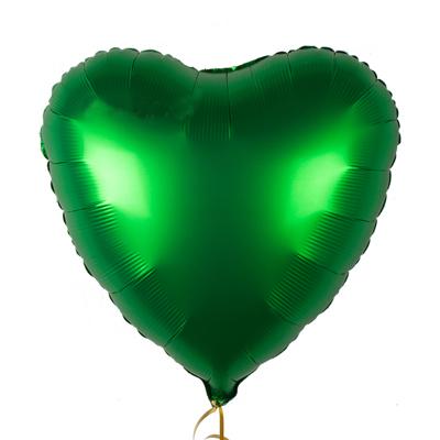 Шарик Сердце Сатин «Зеленое»