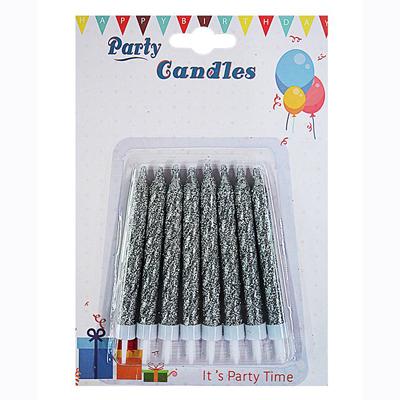 Купить Свечи Глиттер с подставками серебряные
