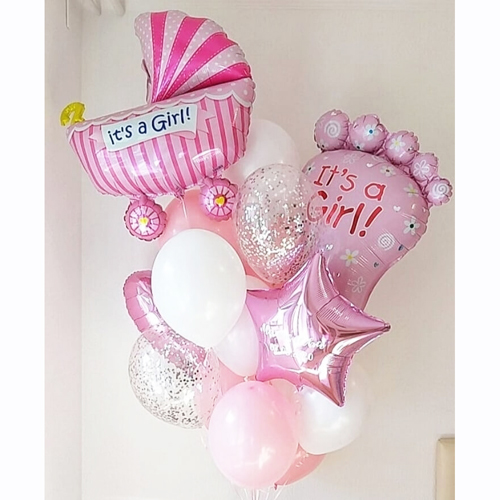 Заказать шарики в роддом для девочки